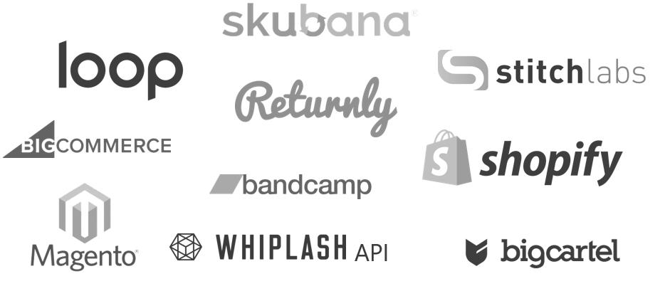 loop, skubana, stitchlabs, bigcommerce, returnly, shopify, magento, bandcamp, whiplash, and bigcartel logos