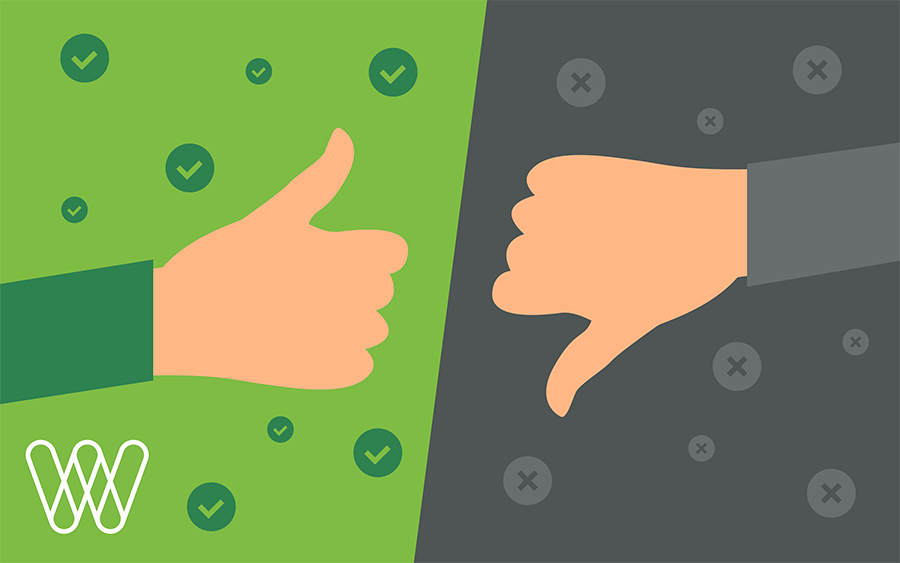 illustration of a thumbs up on a green background and a thumbs down on a gray background