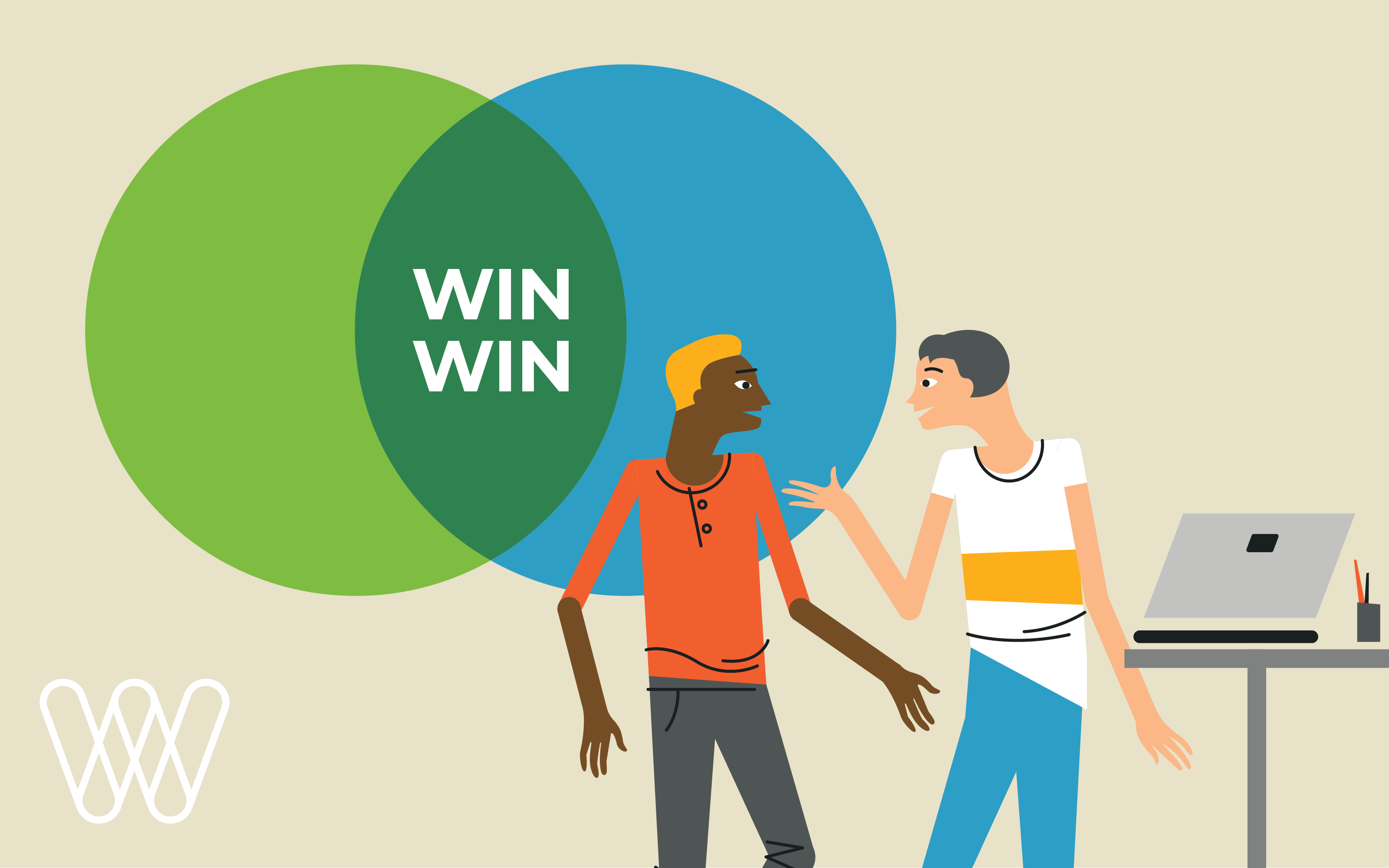 illustration of two people discussing the partner program with two circles intersecting and the text 'win win'