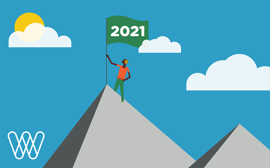 illustration of a person on the top of a mountain with a green '2021' flag