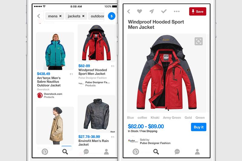 screenshots of shopping on pinterest