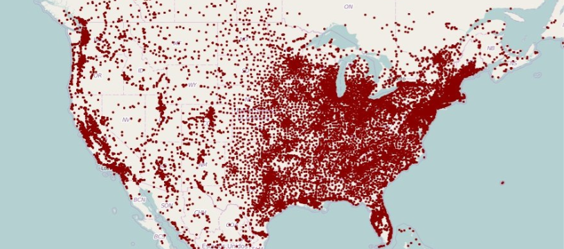 A map of most of North America showing population density with a dot representing each town that has 1,000 people or more