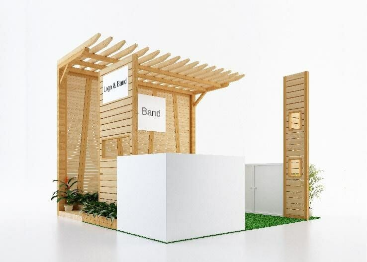 a retail popup structure made of light wood, as an example of a temporary location for retail brands.