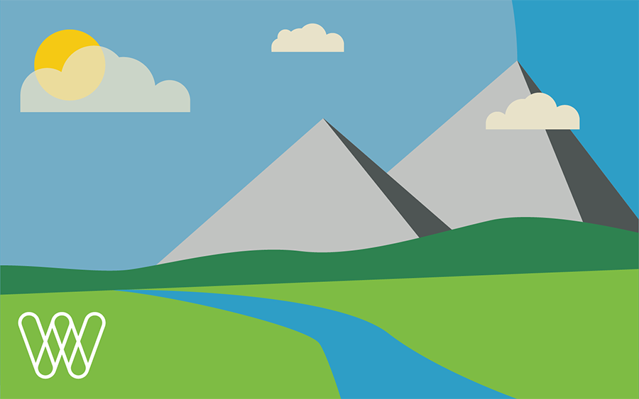 illustration of mountains, a green field, and a river