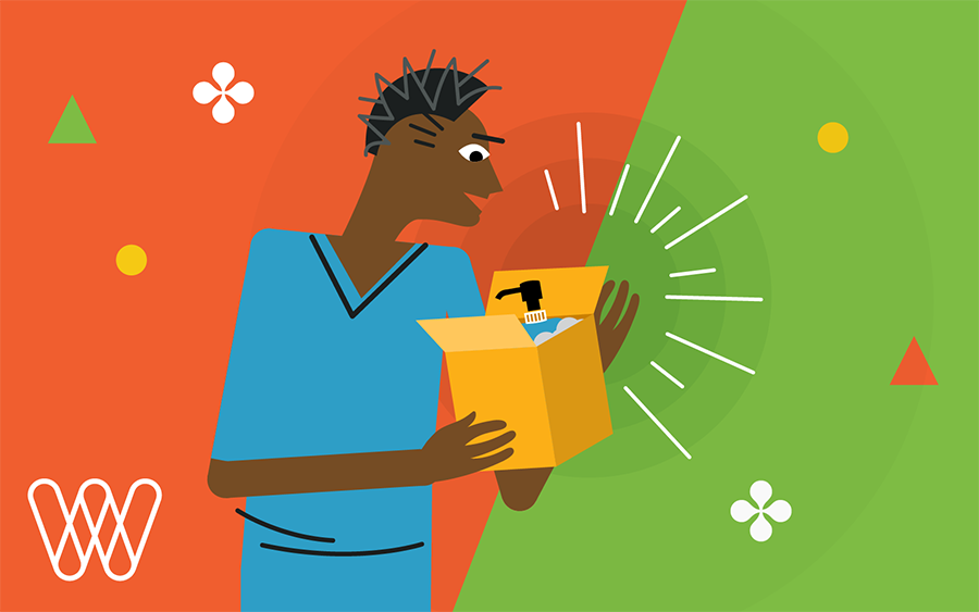 illustration of a person opening a box with a toiletry sample inside