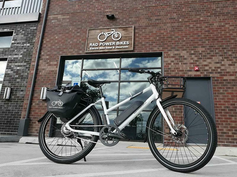 a rad power bikes bike in front of the brand's office