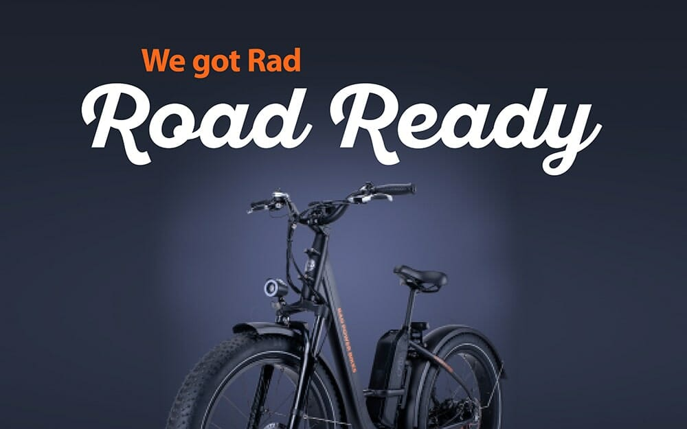 Rad power bike on blue background with text 'we got rad road ready'