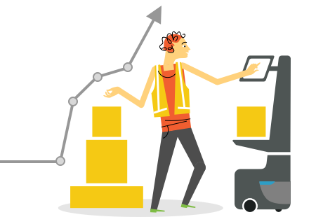 illustration of person using a locusbot in a warehouse
