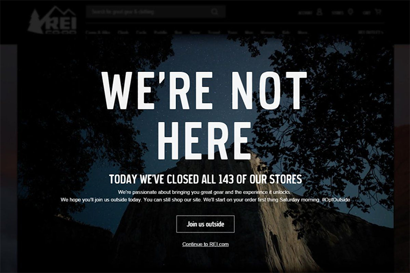 REI notice to spend the day outdoors instead of inside shopping