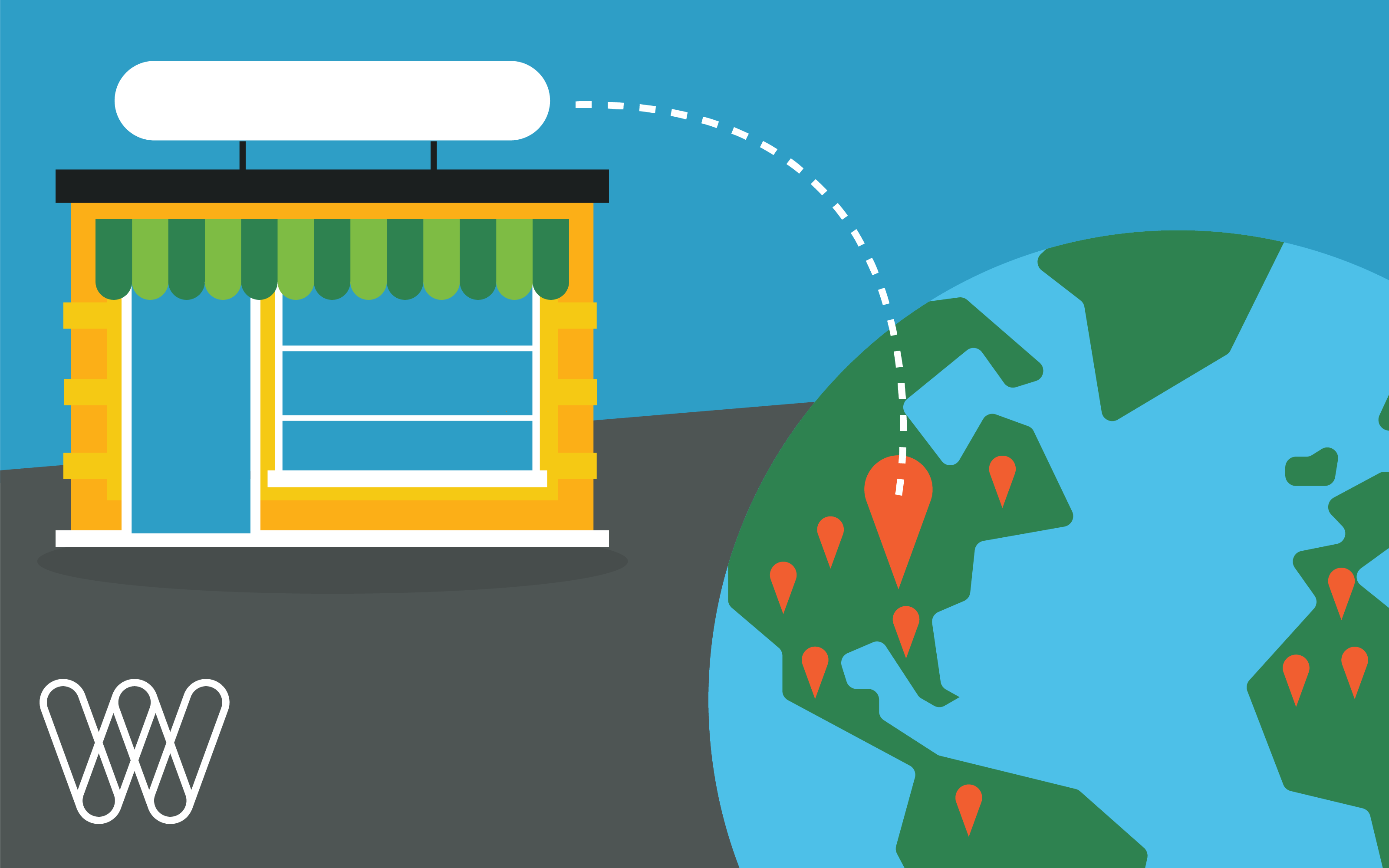 illustration of a storefront pointing to a location on a globe