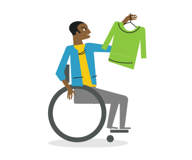 illustration of a man in a wheelchair holding up a shirt