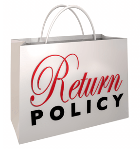 a white shopping bag with the words 'return policy' written on it