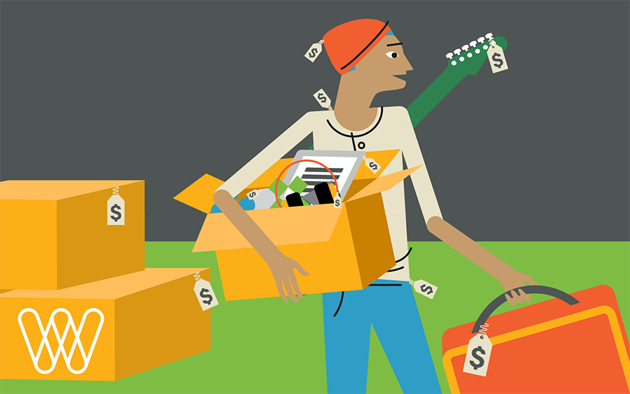 illustration of a person buying boxes of products