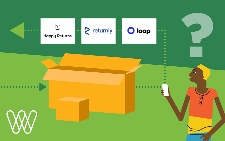 illustration of a confused person next to shipping boxes with returns management logos: happy returns, returnly, loop.