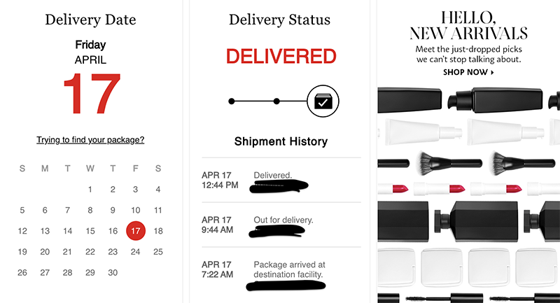 Sephora's order tracking page