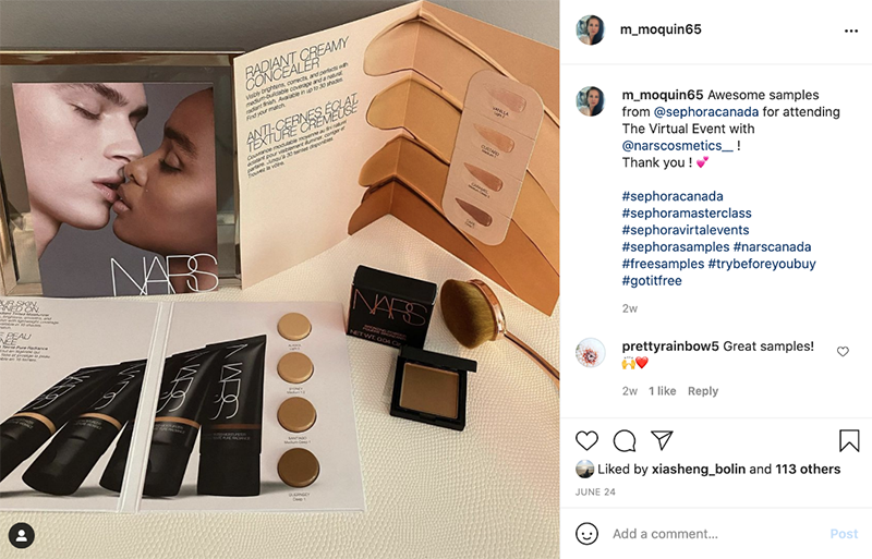 a UGC Instagram post about Sephora samples