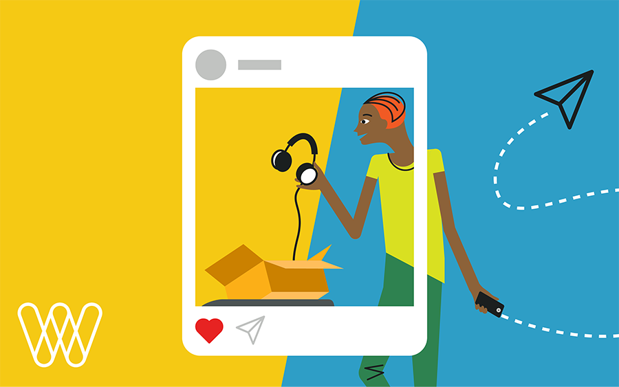illustration of a person unboxing their ecommerce purchase with a social media frame around it