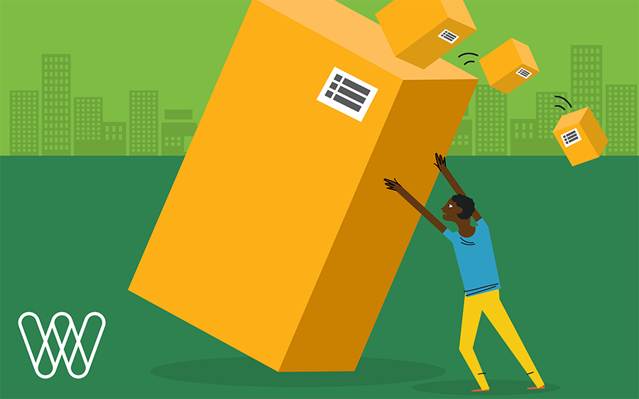 illustration of a person holding up a large shipping box with smaller boxes falling off of it