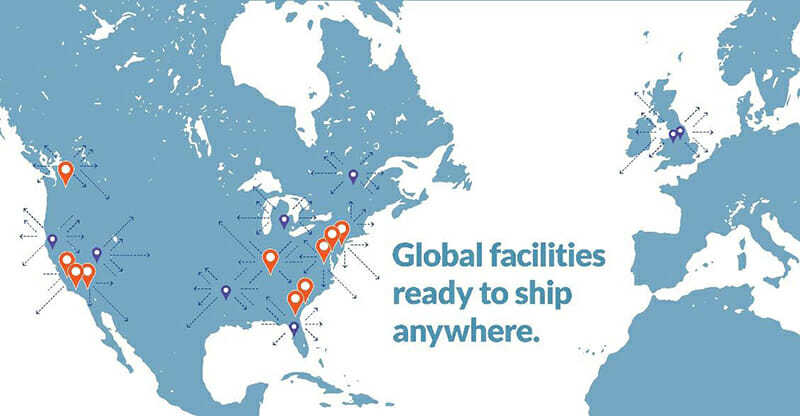 map of port logistics group's shipping facilities with text 'global facilities ready to ship anywhere'