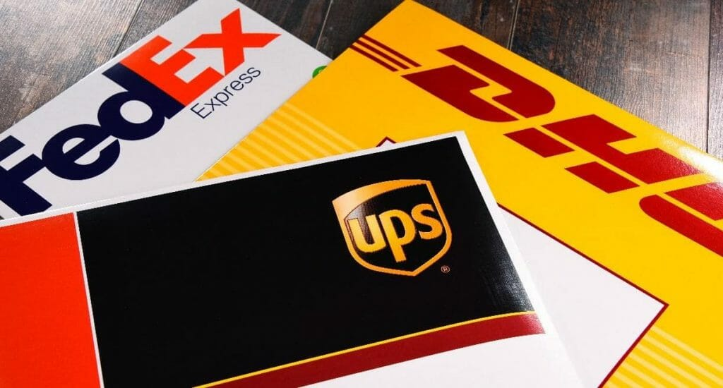 shipping envelopes from ups, fedex, and dhl