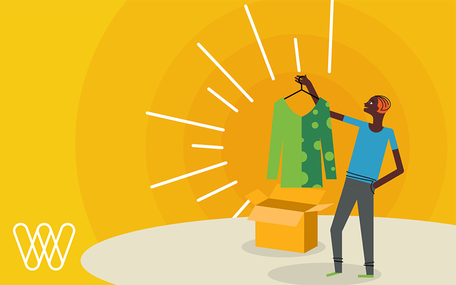 illustration of a person pulling a shirt out of a shipping box