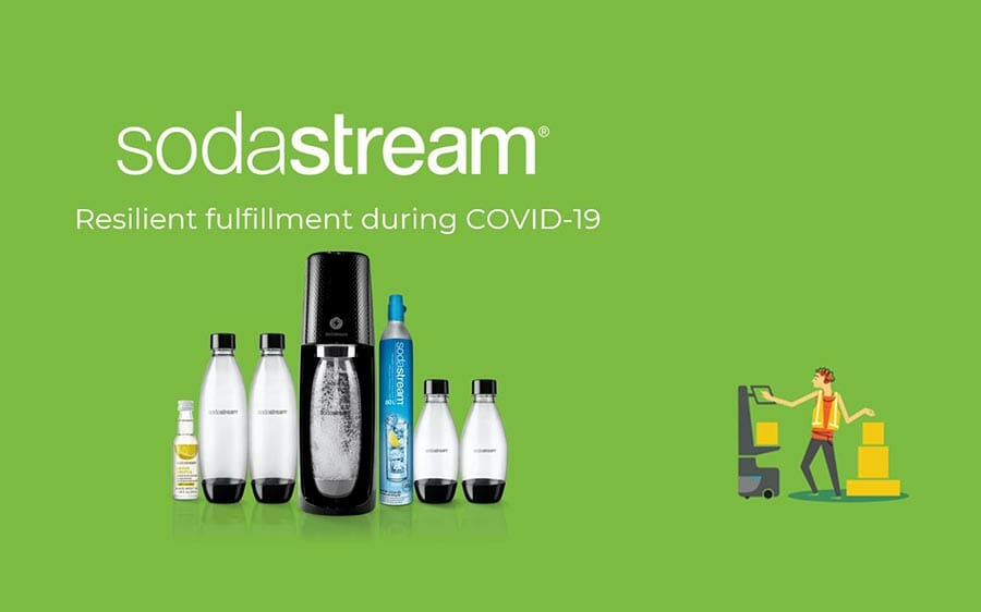 sodastream logo with sodastream products and the text 'resilient fulfillment during covid-19'