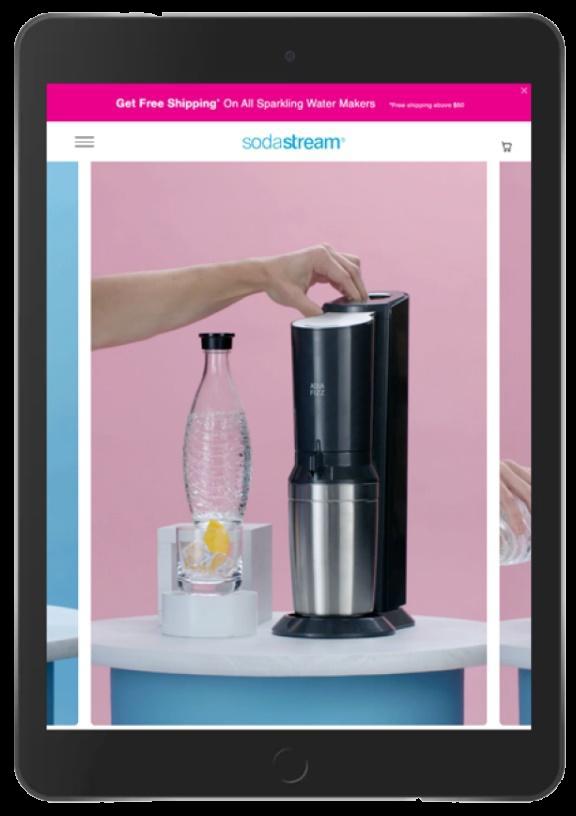 sodastream website on a tablet