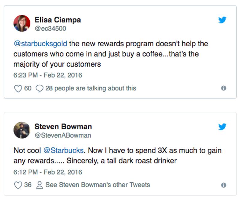 tweets criticizing Starbucks' rewards program