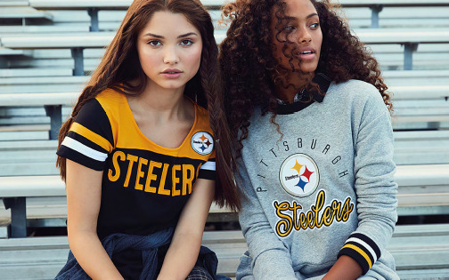 two young women in steelers apparel