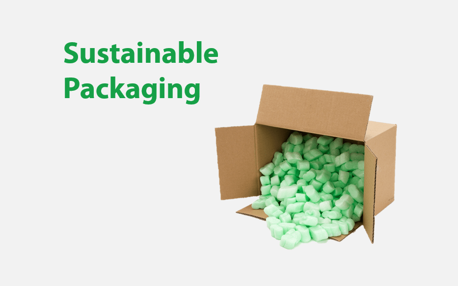 cardboard box of packing peanuts tipped over with text 'sustainable packaging'