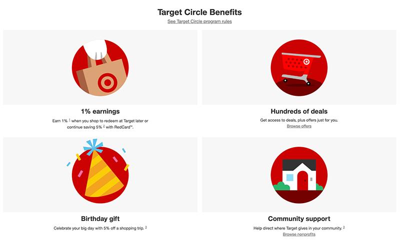 screenshot of Target's circle benefits program