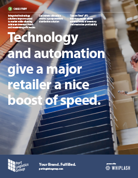 cover of case study: 'technology and automation give a major retailer a nice boost of speed'.