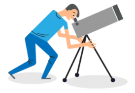 illustration of a person looking through a telescope