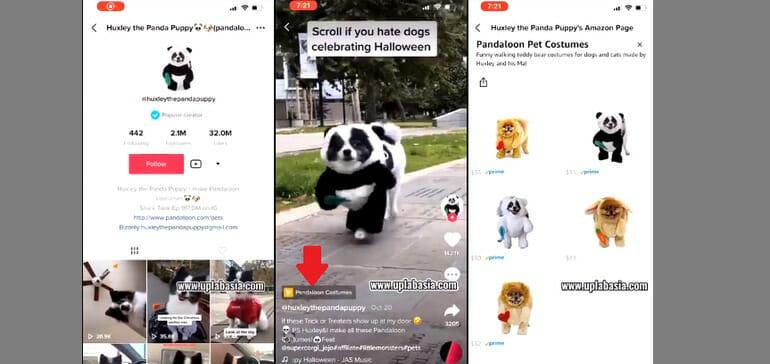 screenshots of shopping on tiktok