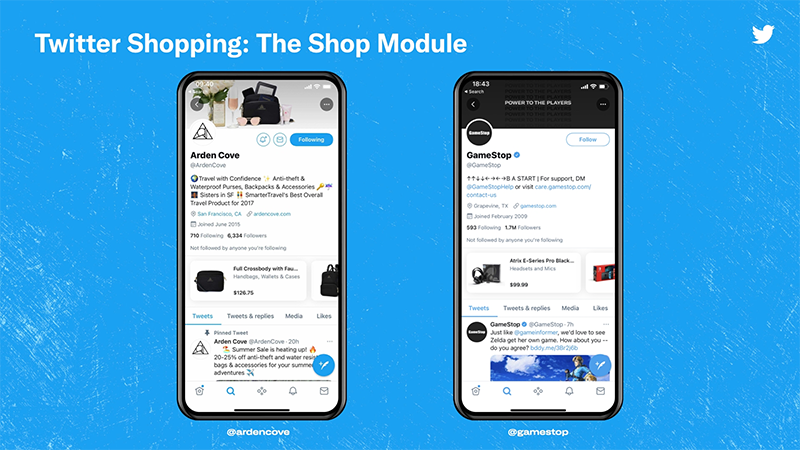 screenshots of twitter shopping on mobile