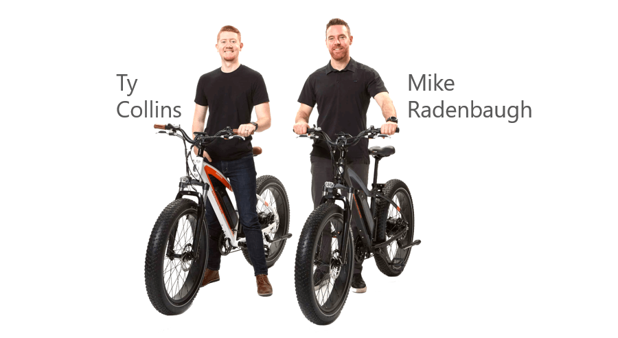 Rad power bikes founders ty collins and mike radenbaugh sitting on bikes