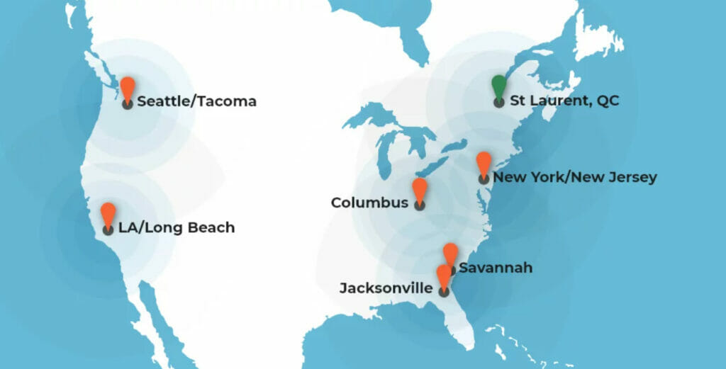 whiplash locations in north america: seattle/tacoma, la/long beach, jacksonville, savannah, new york/new jersey, columbus, and st laurent, QC