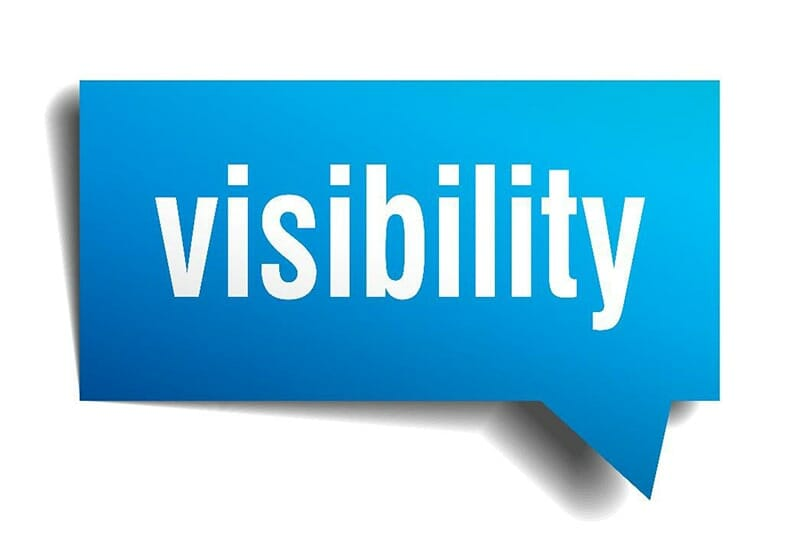 Blue text bubble with the word 'visibility' in white