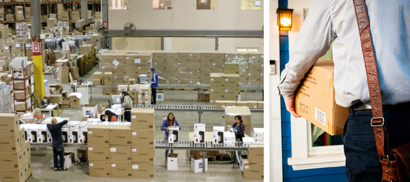 collage: on the left, an overview of a fulfillment center; on the right, a delivery person delivering a sodastream package