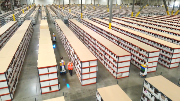 overhead view of people and locusbots working in a warehouse