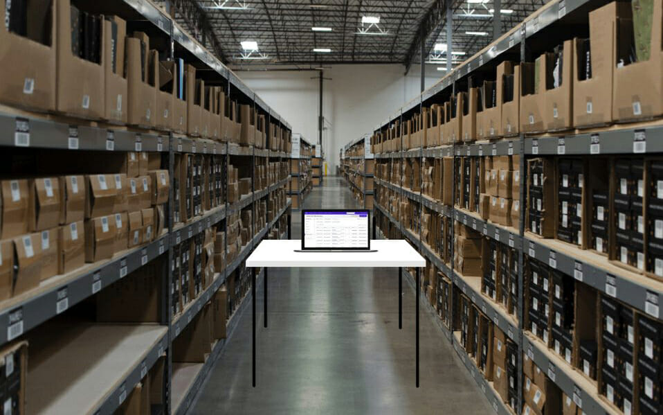 Warehouse aisle in an ecommerce fulfillment facility