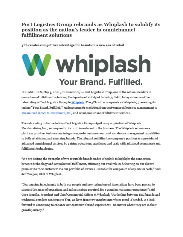first page of rebrand press release