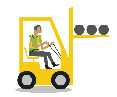 illustration of a person driving a forklift