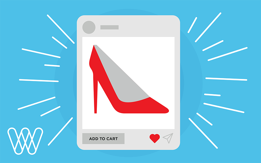 illustration of a red shoe product page on a tablet