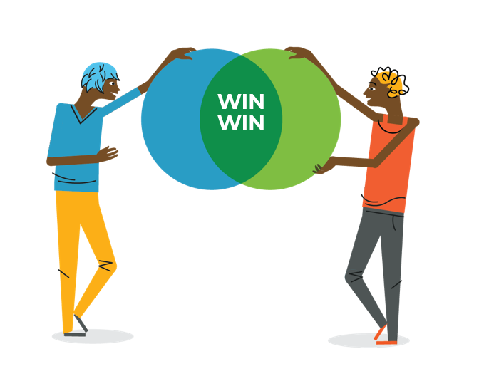 illustration of two people holding circles together, with 'win win' in the middle