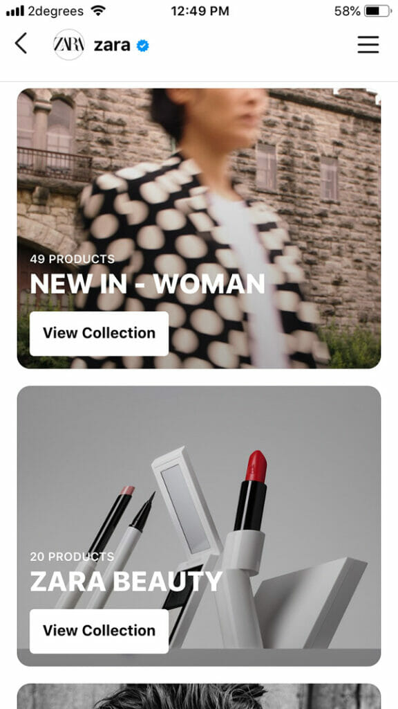 zara collections on instagram